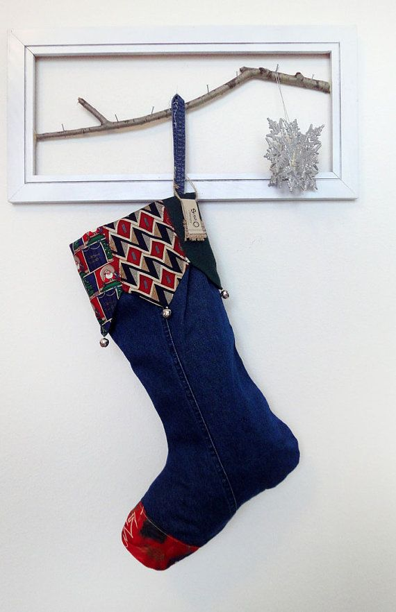 Elf Christmas Stocking made of recycled denim and santas neck ties ...