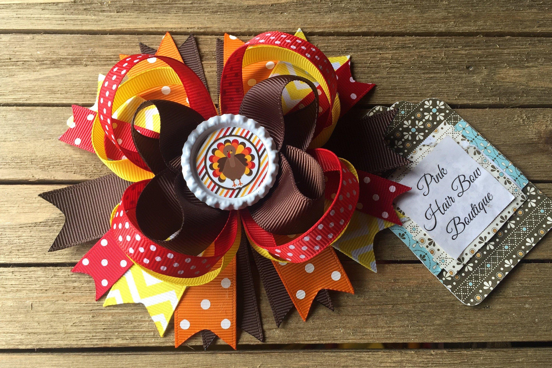 thanksgiving hair clip Thanksgiving bow fall bows turkey hair bow fall hair bows turkey bow thanksgiving girl bows