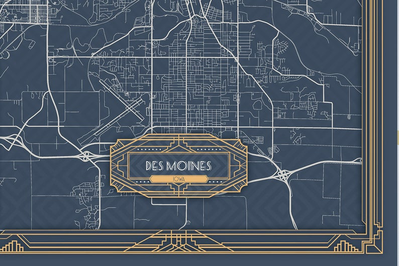 Des Moines Ia Iowa Canvas Map Print Art Deco Style Large Etsy Vertical Wall Art Large Canvas Prints Wall Art Canvas Prints