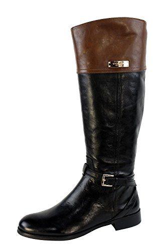 Coach micha calfcalf knee boots black chestnut