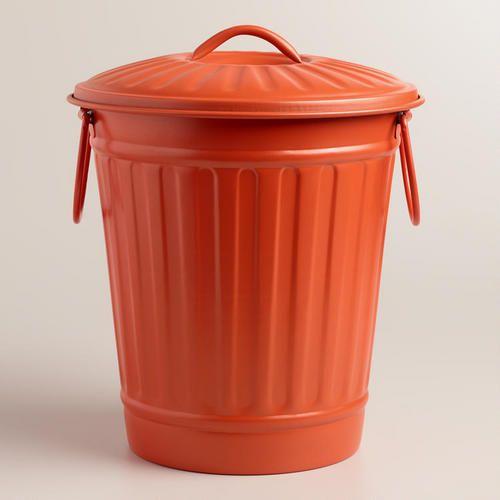 Large Coral Retro Metal Trash Can Metal Trash Cans Trash Can Outdoor Trash Cans Metal trash can with lid