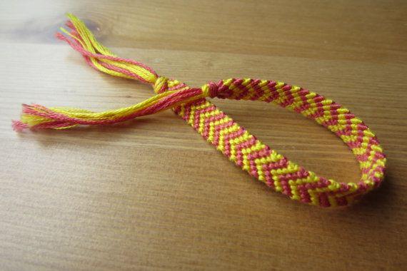 Chevron bracelet braided bracelet knotted bracelet pink,yellow,green,blue,white | friendship bracelets