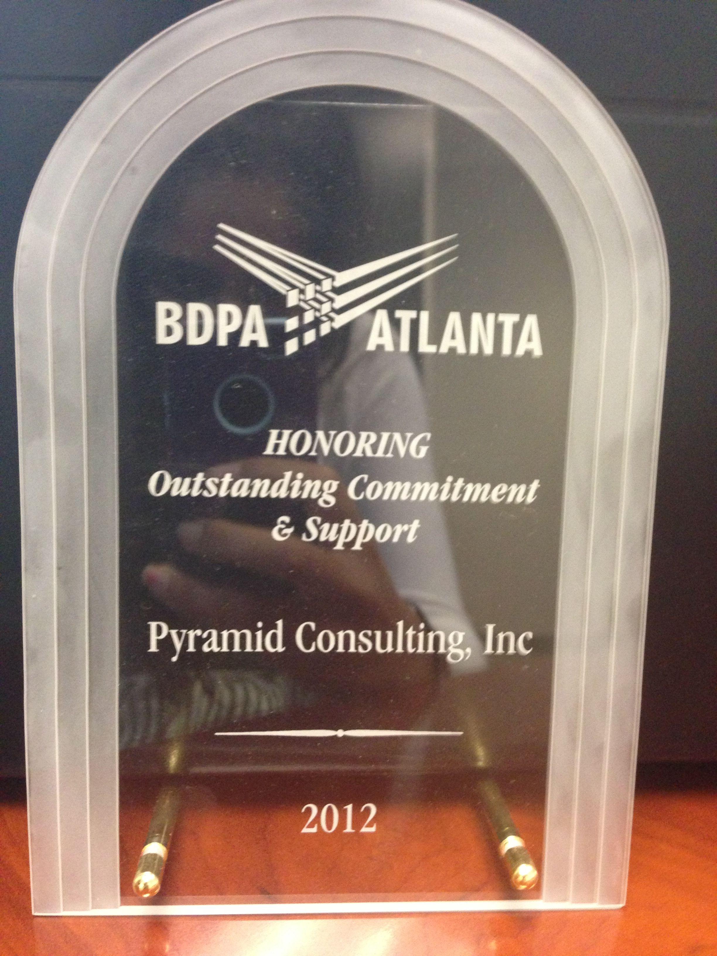 BDPA Atlanta Outstanding Commitment & Support 2012