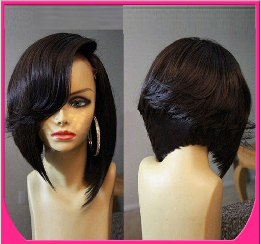 remy human hair full lace wigslace front wig short fashion