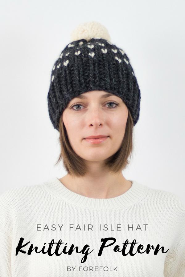 4133f1dfb10 Easy Fair Isle Hat Knitting Pattern