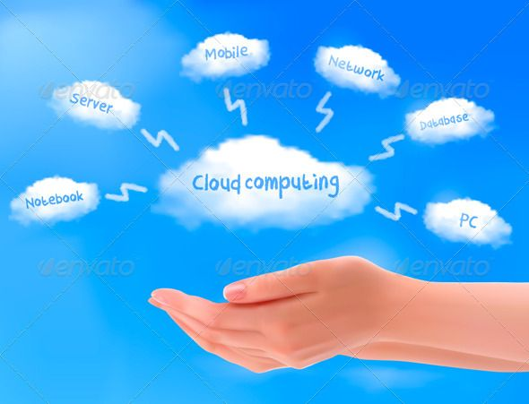 Cloud computing concept. Hands with blue sky | Cloud and Cloud ...
