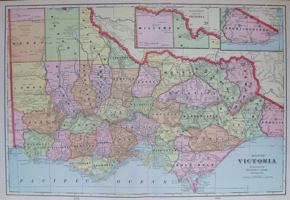 1904 Antique VICTORIA Australia Map of Australia