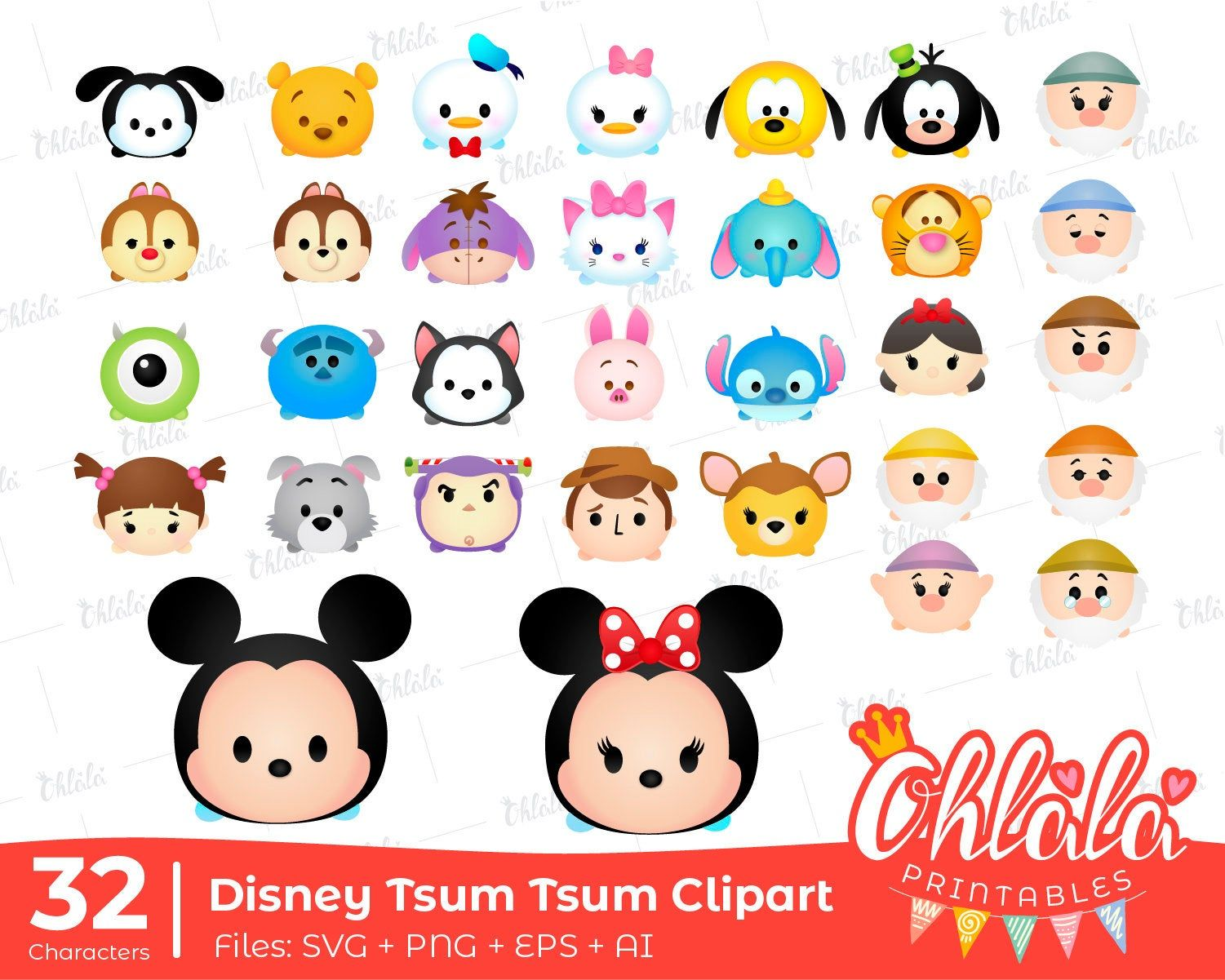 32 Cliparts Disney Tsum Tsum Characters Svg Png Eps Ai Scalable Vector Mickey Minnie Mouse Cute Silhouette De Pr Tsum Tsum Tsum Tsum Party Tsum Tsum Characters