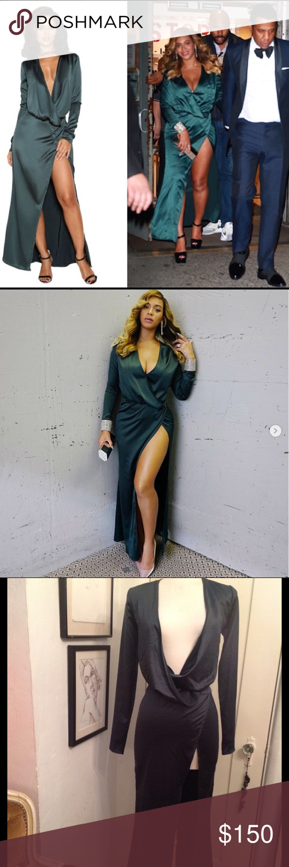 Dark Green House Of Cb Serafina Beyonce Dress Beautiful In Heavy Weight Satin Very Slimming Gorgeously D With