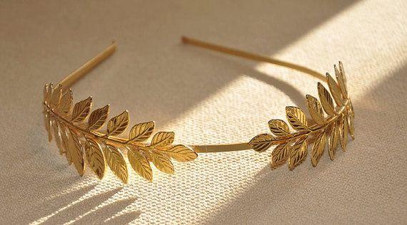 Bandeau Goddess Leaf Flower Girl Cheveux Couronne tête pièce argent or band Bridal
