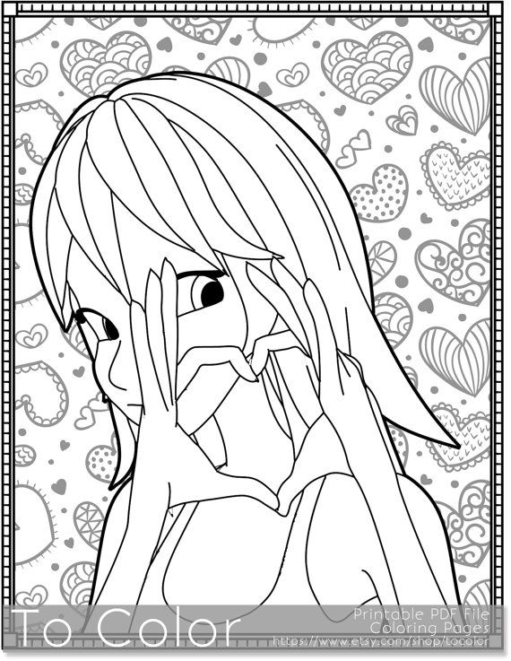 Girl With Heart Printable Coloring Pages for Adults, I Heart You ...