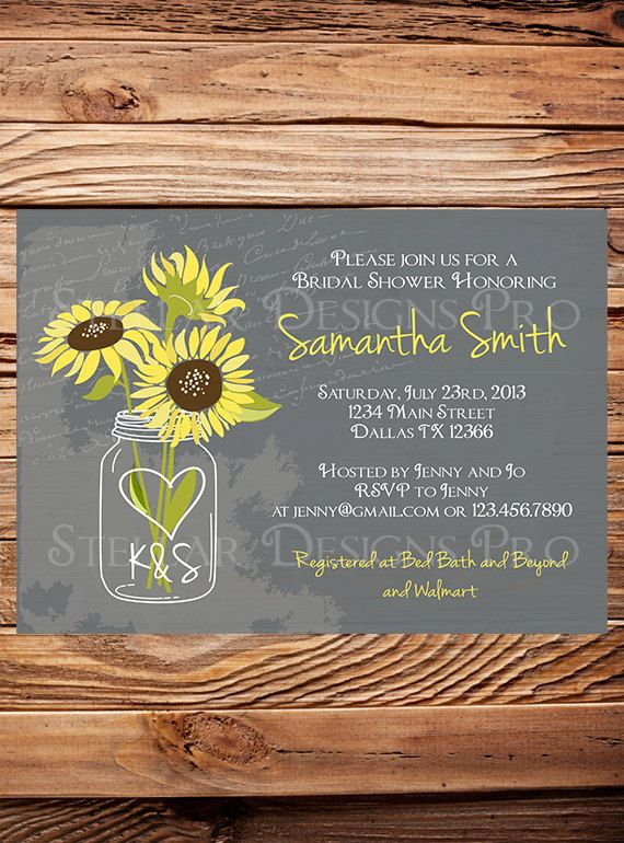 sunflowers mason jar bridal shower invitation vintage mason jar invitation gray brown mason jar sunflower wedding shower 6172 lexi hershberger