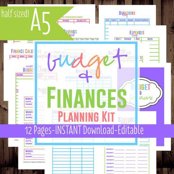 Printable Budget  Finances Planning Kit Pdf Printables A For