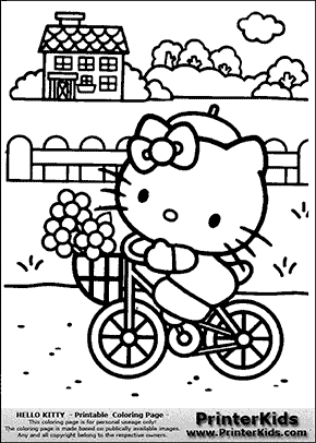 Hello Kitty - Bicycling with Flowers - Coloring Page ...