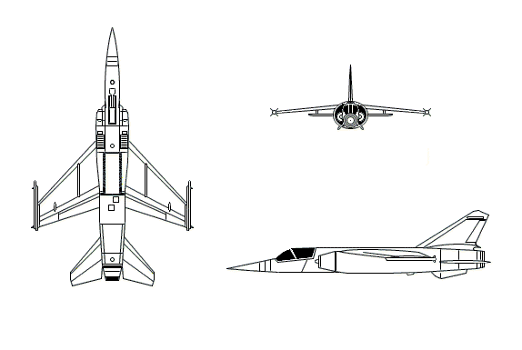 Orthographically projected diagram of the Dassault Mirage