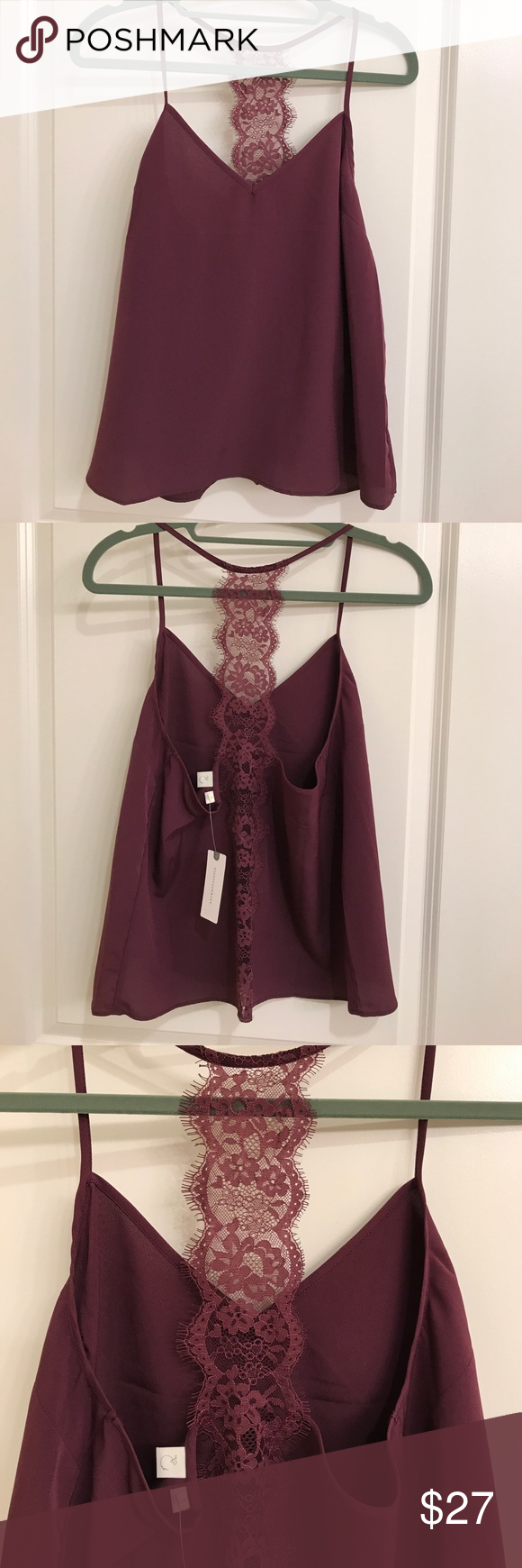 NWT Goergeous plum lace camisole NWT and never before worn plum silk camisole with lace on the back. Very pretty and lose too great for under blazers or for a date! Anthropologie Tops Camisoles