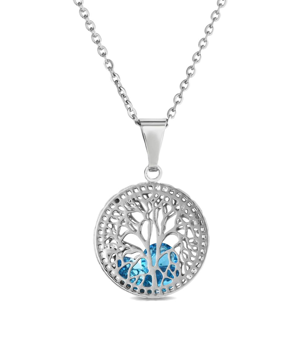 Aqua Crystal & Silvertone Tree of Life Pendant Necklace