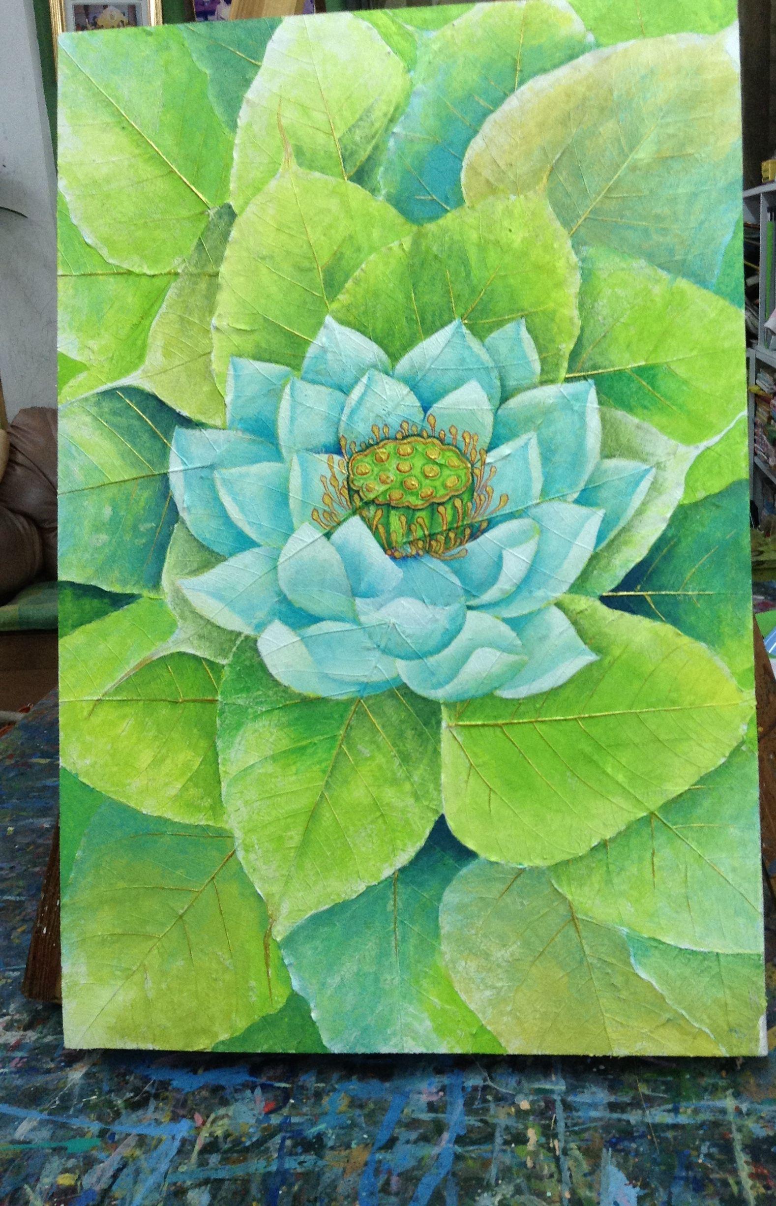 Beautiful decorative original acrylic painting lotus flower on a beautiful decorative original acrylic painting lotus flower on a canvas made with real preserved bodhi leaves izmirmasajfo