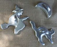 Vintage Halloween Cat , Witch  & Moon Cookie Cutter, Aluminum 1950's