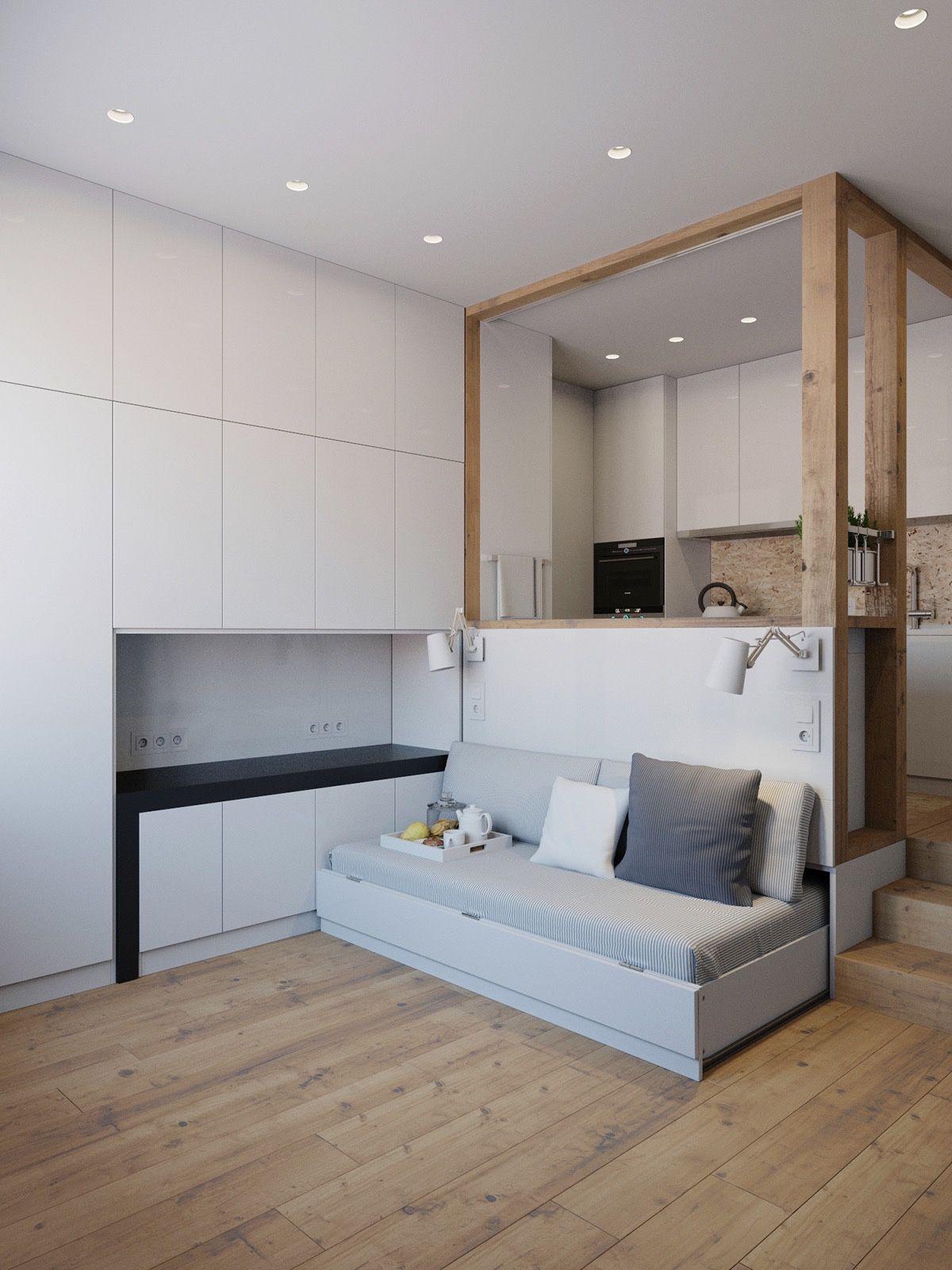 4 Small Apartment Designs Under 50 Square Meters | Salones de diseño ...