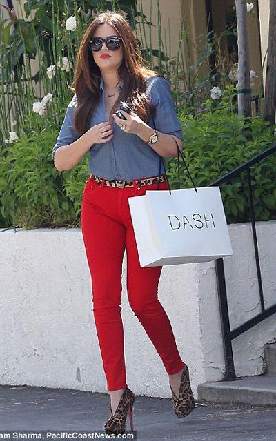 Kourtney Kardashian - chambray, leopard, and red jeans. Really ...