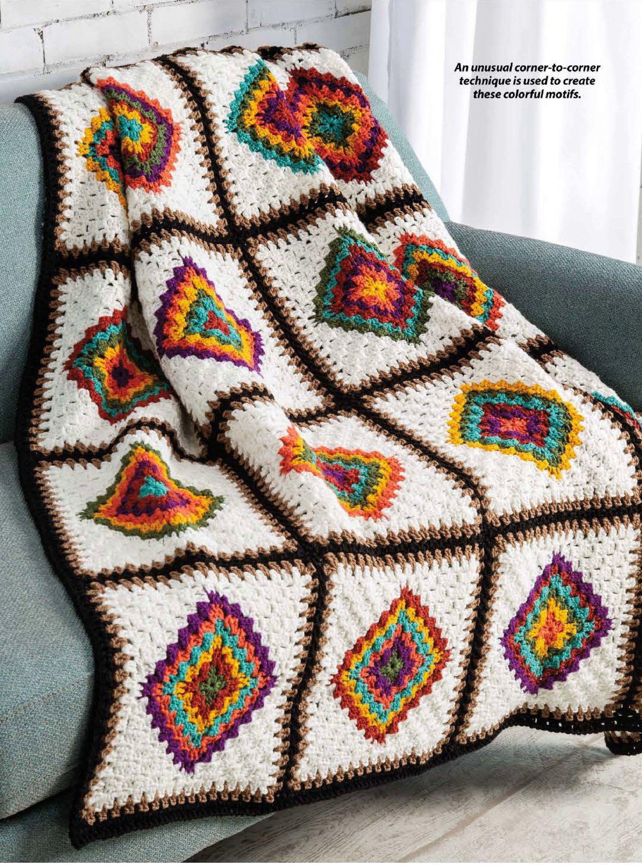 Crochet Blanket Pattern UK - Center-to-Corner Afghan | DIY Blanket