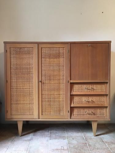 French gilded oak and woven rattan dresser 1960s for sale - Rattan living room furniture for sale ...