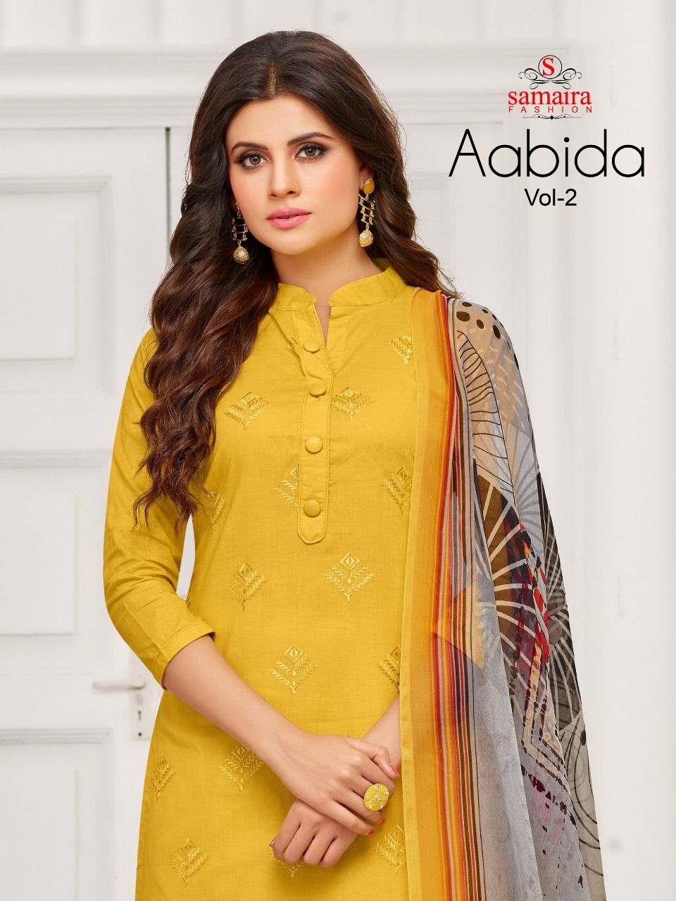 a97e360957 Samaira Fashion Aabida Vol 2 Printed Cambric Cotton with Embroidery Work  Dress Material at Wholesale Rate