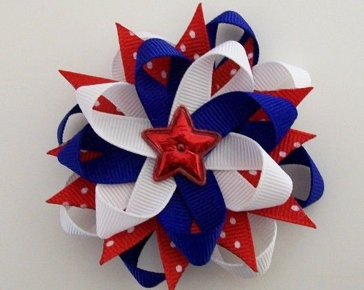sale fourth of july hair bow hairbow 4th fireworks white