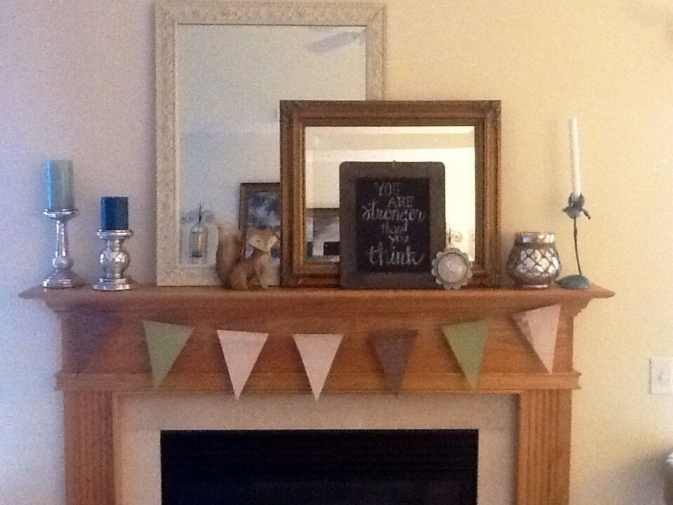 My fireplace mantel, with easy no-sew banner.