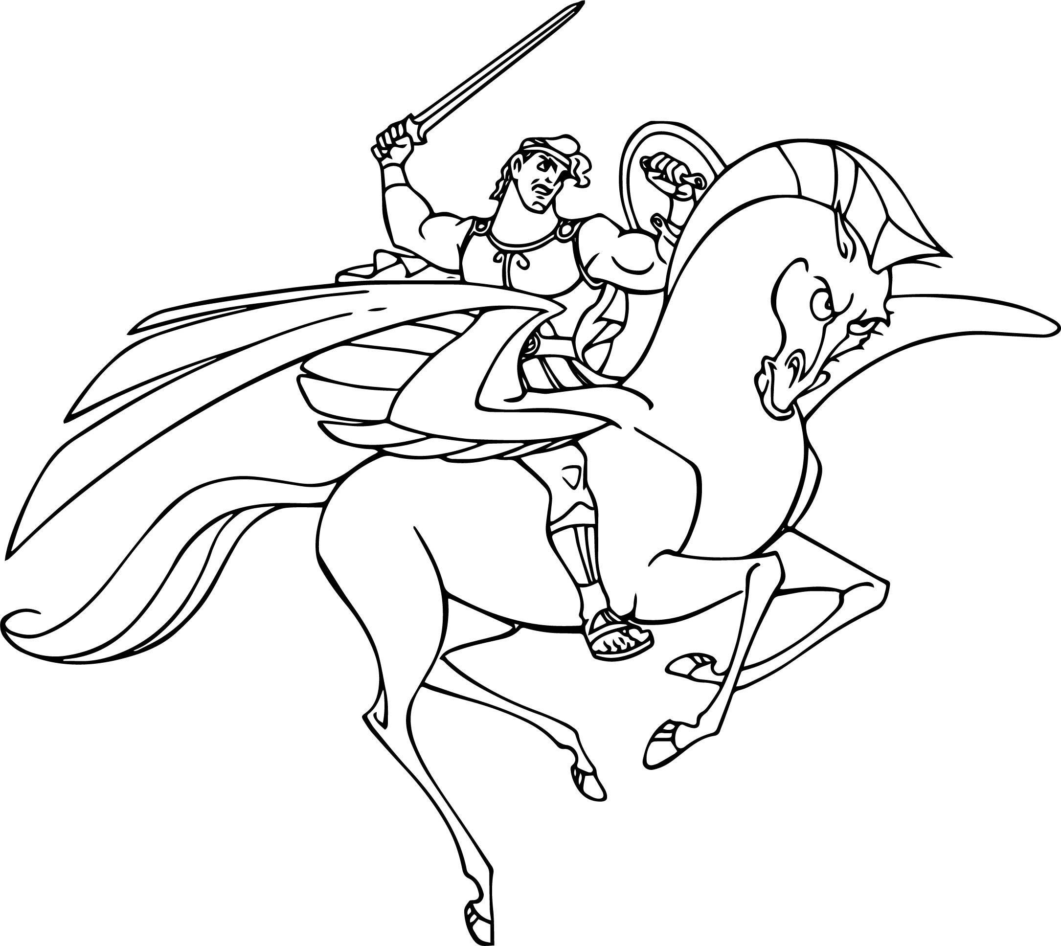 Unique Disney Hercules Pegasus Coloring Pages Design