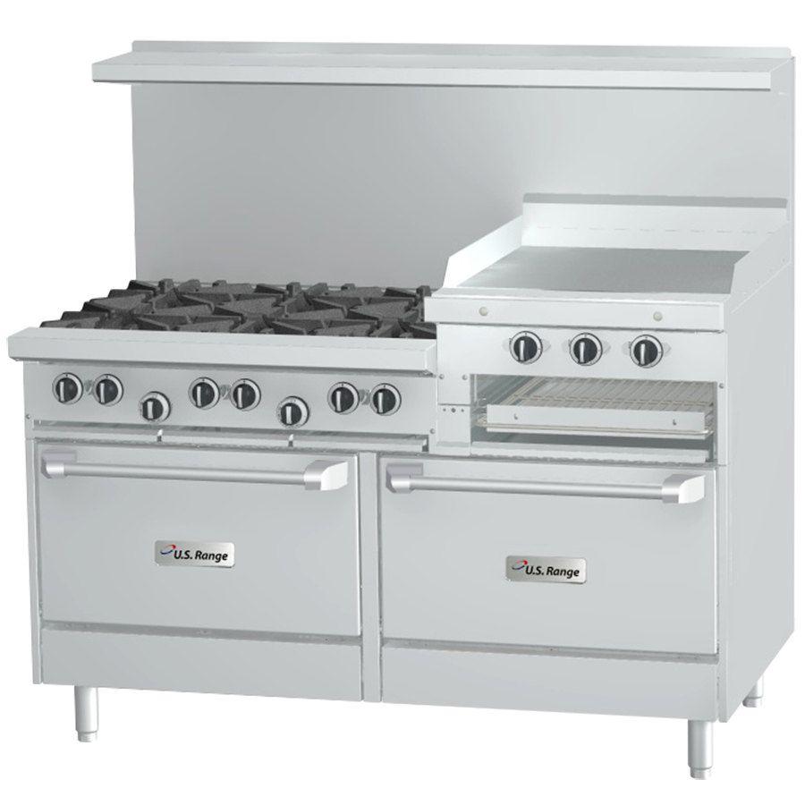 U S Range U60 6r24rr 6 Burner 60 Gas Range With 2 Standard Ovens And 24 Raised Griddle Broiler Gas Range Convection Oven Commercial Kitchen