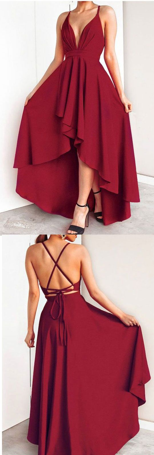 Hi low dark red prom dresses for women in prom dresses