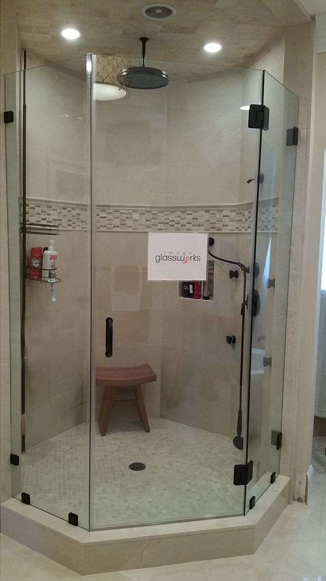 Photo Of A Neo Angle Shower Door With A 1 2 Thick Support Panel On The Right And Oil Rubbed Bronze H Neo Angle Shower Doors Bathroom Shower Doors Shower Doors