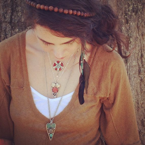 Boho Necklace Red Glass Pendant by LauraKAiken on Etsy