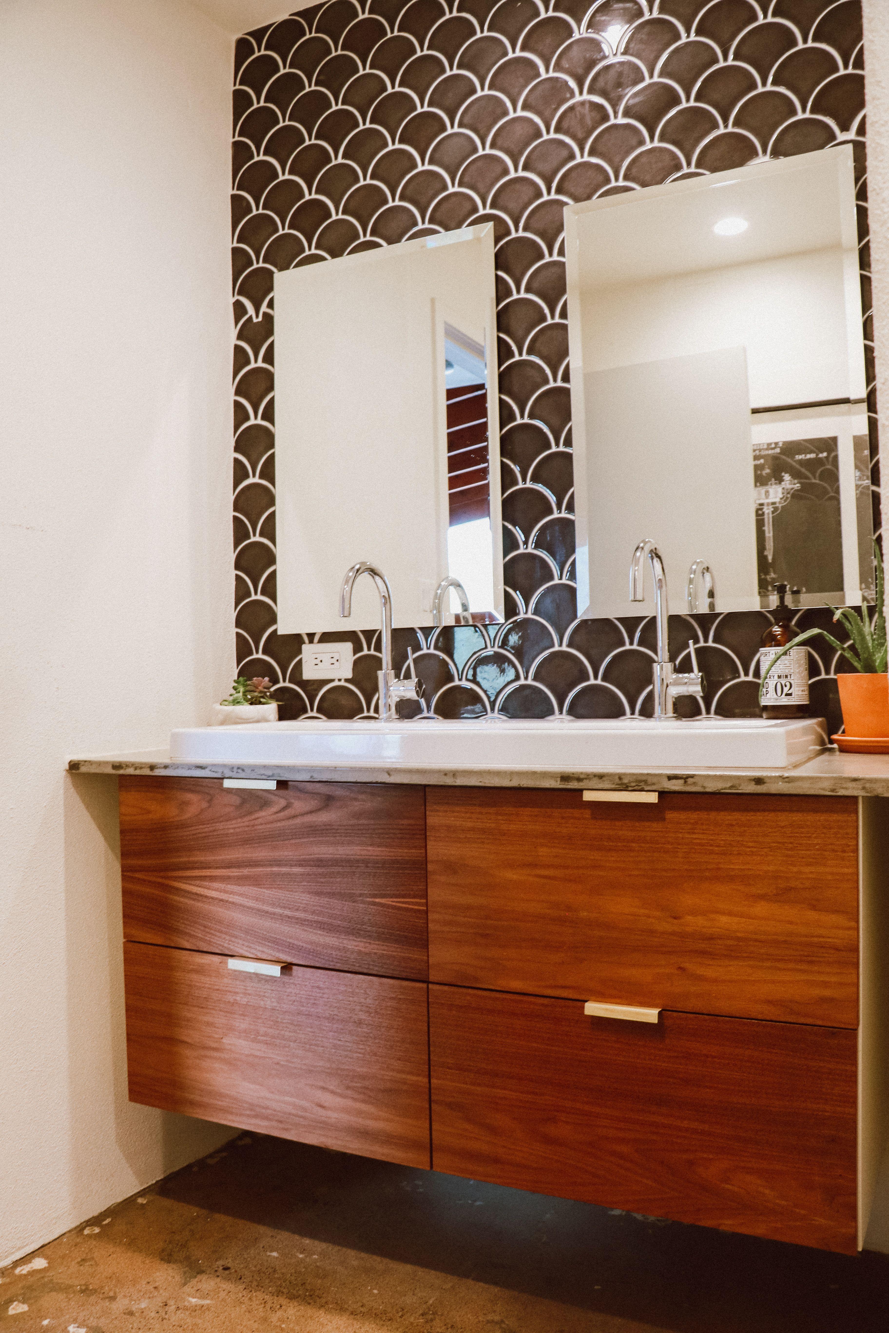Mid Century Modern Bathroom Remodel using brass