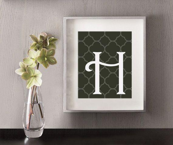 Initial Home Decor: H Fancy Uppercase Art Print
