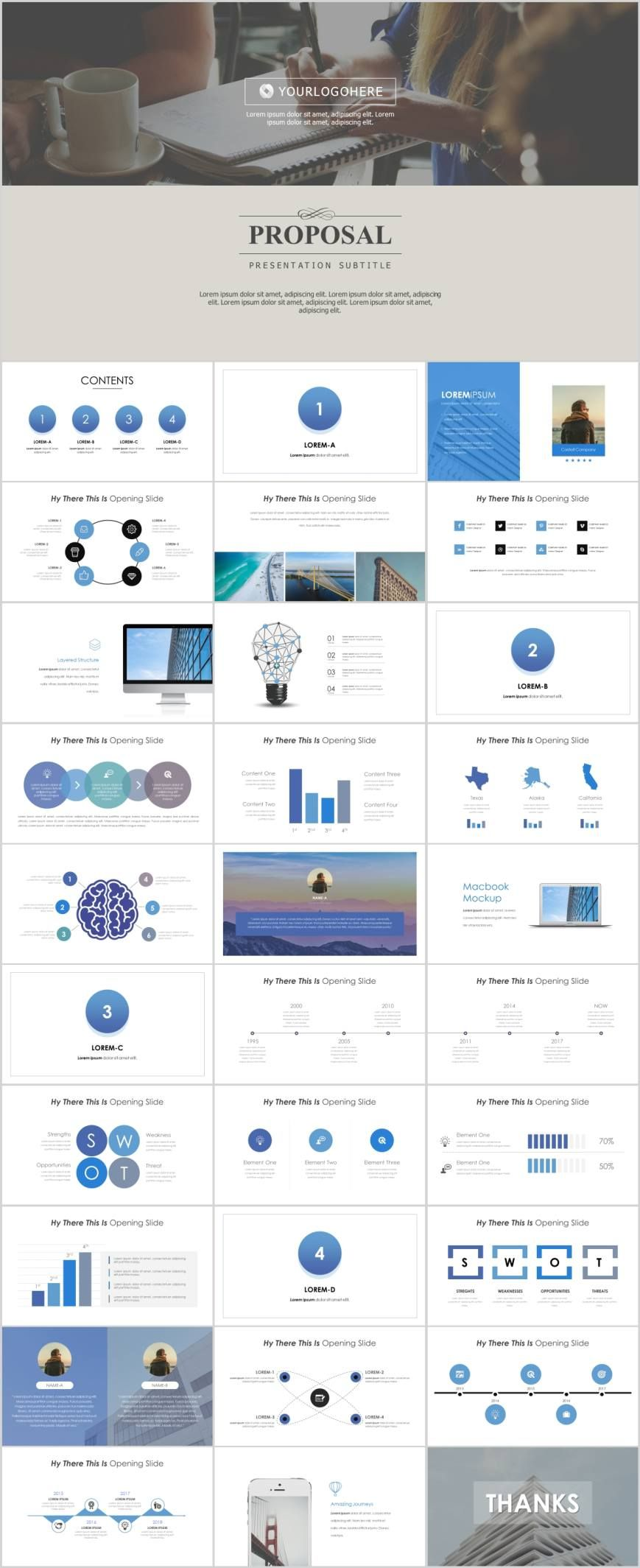 Clean Proposal analysis SWOT PowerPoint template