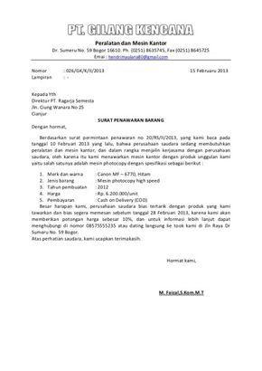 Contoh Surat Penawaran Barang Prudp01 Simple Projects