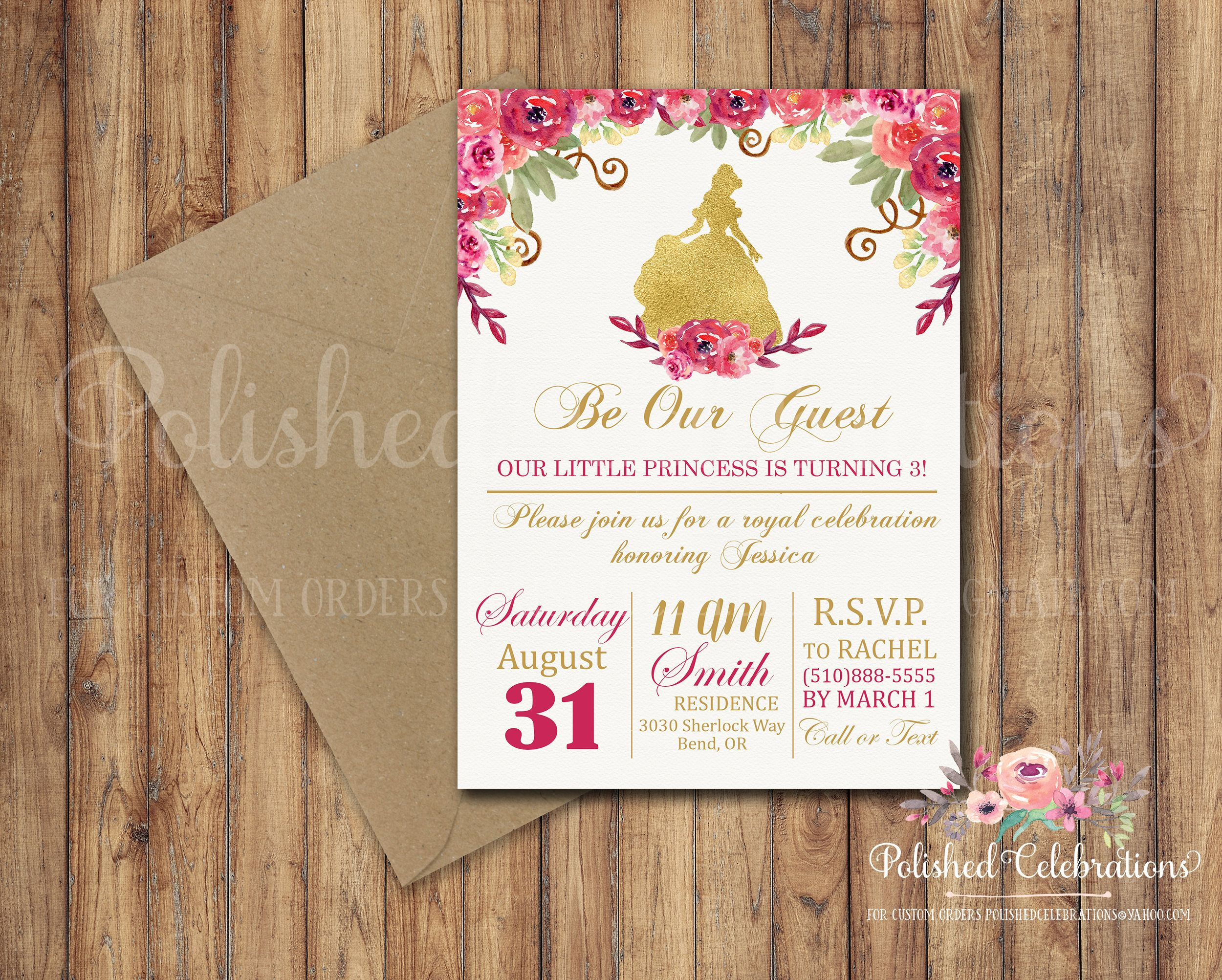 Be our guest princess party birthday invitation royal castle be our guest princess birthday invitation royal party castle magical digital filmwisefo