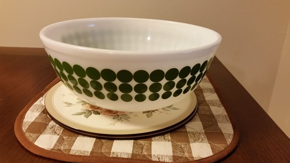 VINTAGE GREEN AVOCADO POLKA DOT PYREX 4 QUART MIXING BOWL - #404 ...