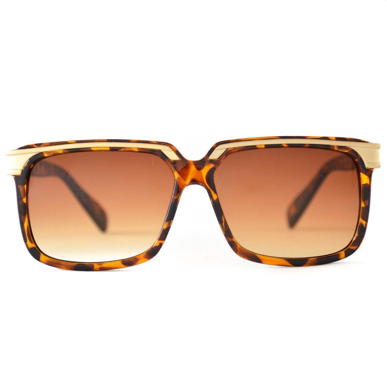 Maximus Golden Flat Top Design Aviator Sunglasses
