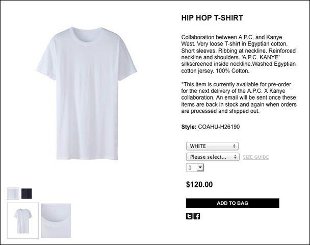Kanye West X A P C Hip Hop T Shirt 120 For A Friggin Plain White T Shirt Plain White T Shirt Mens Tshirts Kanye West