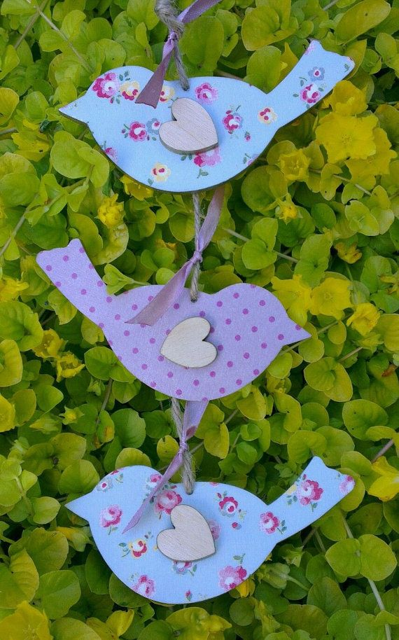 Handmade Wooden Hanging Plaque Birds Decoupage by
