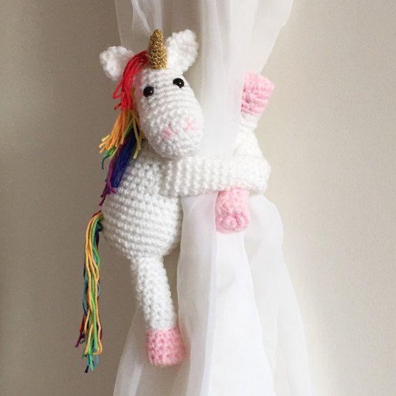 Unicornio arco iris cortina tira crochet hecho a por niceandcosee ...