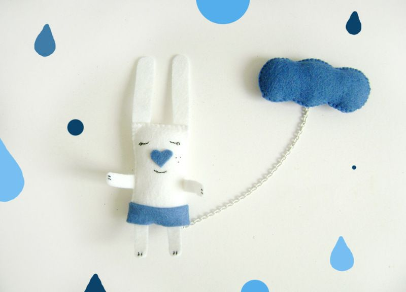 """It is raining and he is smiling...:)  This is a funny double brooch """"A Bunny and a Cloud """". It is made from fabric, felt and painted with acrylic..."""