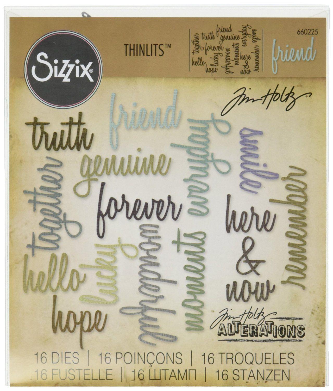 Amazon.com: Sizzix Thinlits Die Set, Friendship Words: Script by Tim Holtz (16…