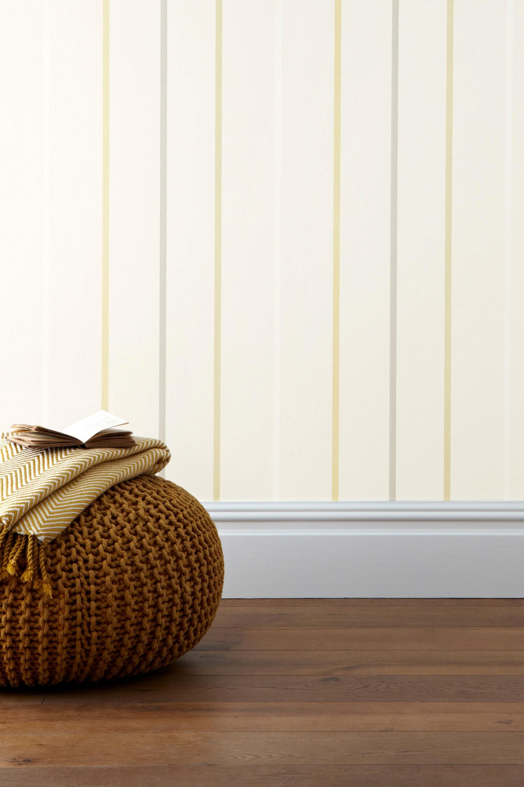 Buy Ochre Multi Stripe Wallpaper from the Next UK online