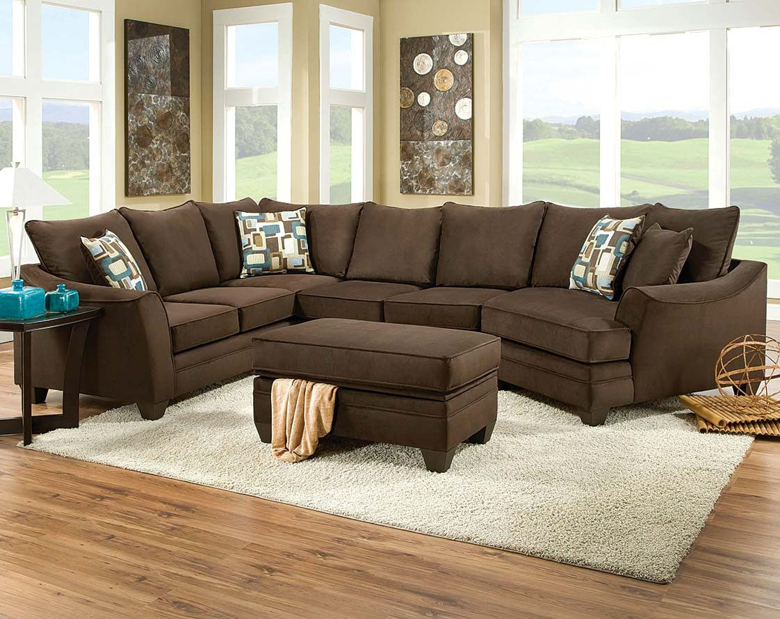 Brown Couch With Cuddler | Flannel Chocolate 3 Piece Sectional Sofa |  American Freight