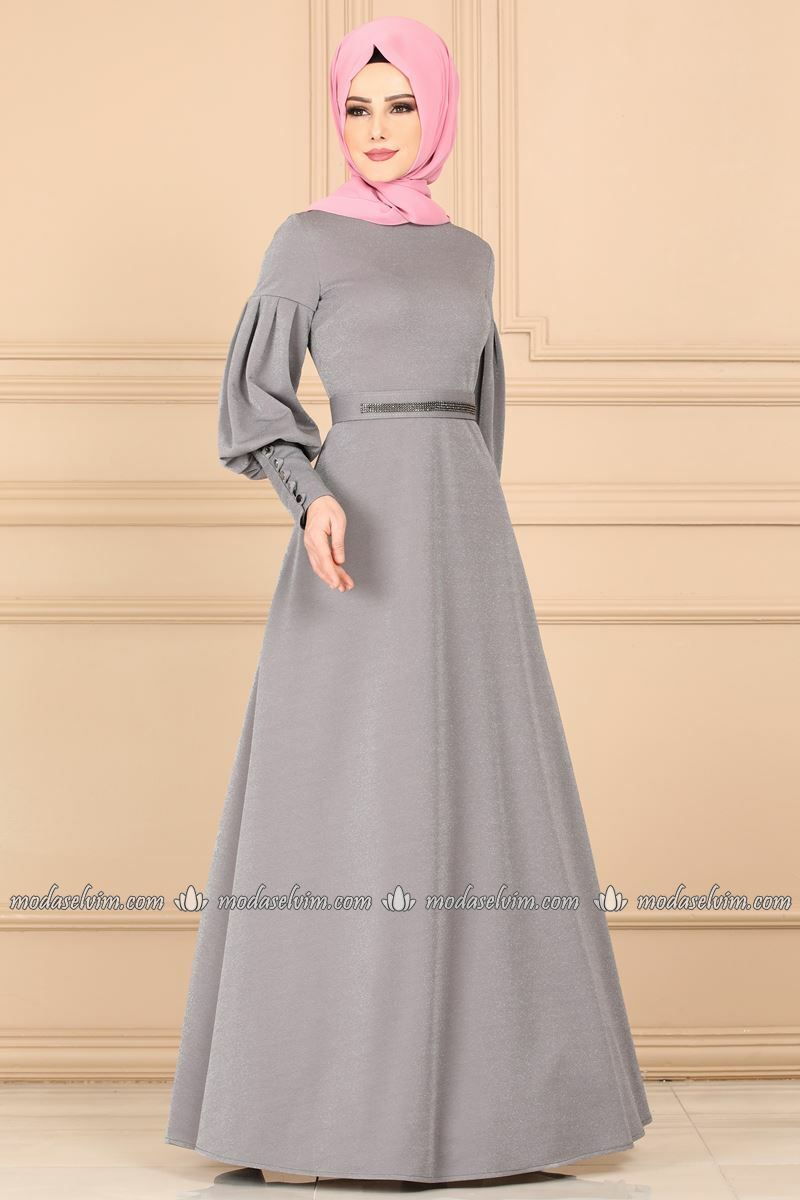 Balon Kol Simli Elbise 2163ms212 Gri Modaselvim Islami Moda Moda Stilleri The Dress